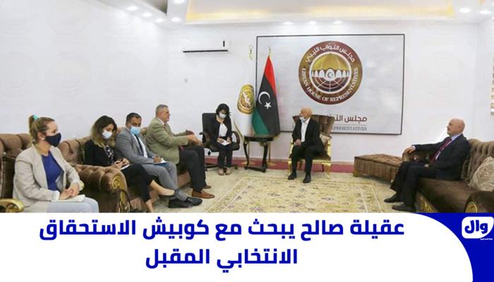 عقيلة صالح يبحث مع كوبيش الاستحقاق الانتخابي المقبل